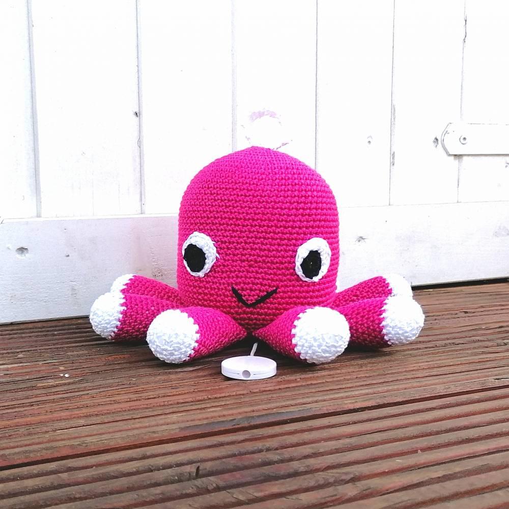 Spieluhr gehäkelt, Octopus, Pink, Melodieauswahl, Wasserdicht, 100 % Baumwolle, Geschenk für Taufe, Weihnachten Bild 1