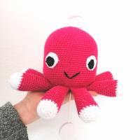Spieluhr gehäkelt, Octopus, Pink, Melodieauswahl, Wasserdicht, 100 % Baumwolle, Geschenk für Taufe, Weihnachten Bild 3