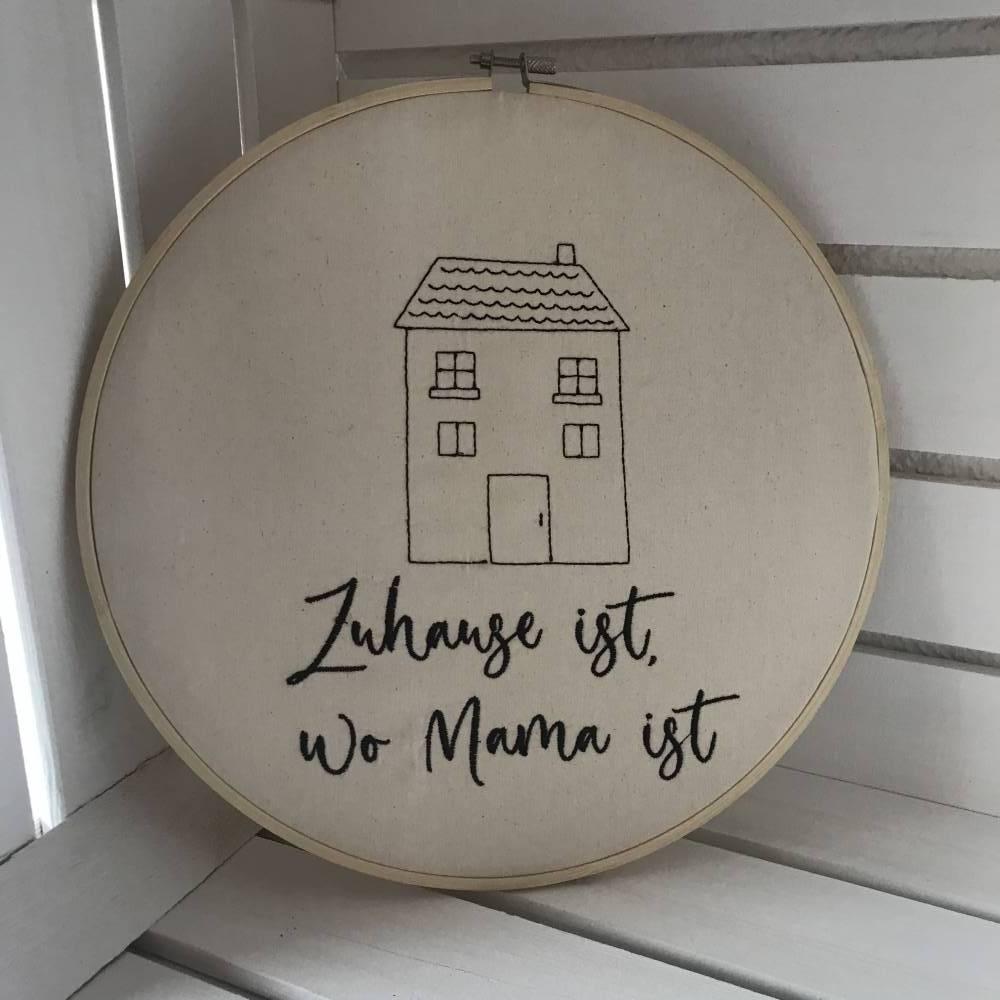 Stickrahmen  Wanddekoration  Skandinavisch wohnen  Türkranz  Namensschild   Willkommen Bild 1