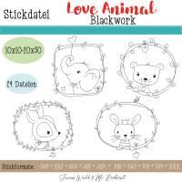 """Digitale Stickdatei Janeas World Love Animal Blackwork für den 10x10 - 20x30 cm (4x4 - 8x12"""") Stickrahmen Bild 1"""