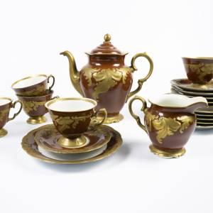 Kaffeegeschirr, Service, Hersteller Wawel, Made in Polen, Kaffeekanne,  Milchkännchen, 5 Gedecke, Vintage, brau, goldfar Bild 1