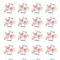 24 Sticker Etiketten Aufkleber, rund D= 4 cm Ich sag Danke Bild 2