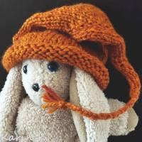 Zipfelmütze mit Rollrand Rotorange Orangebraun gestrickt ZöpfchenStyle Puppensachen Bild 1