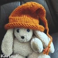 Zipfelmütze mit Rollrand Rotorange Orangebraun gestrickt ZöpfchenStyle Puppensachen Bild 2