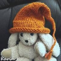Zipfelmütze mit Rollrand Rotorange Orangebraun gestrickt ZöpfchenStyle Puppensachen Bild 3