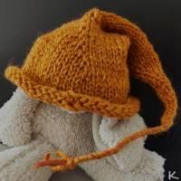 Zipfelmütze mit Rollrand Rotorange Orangebraun gestrickt ZöpfchenStyle Puppensachen Bild 4