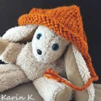 Zipfelmütze mit Rollrand Rotorange Orangebraun gestrickt ZöpfchenStyle Puppensachen Bild 5