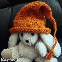 Zipfelmütze mit Rollrand Rotorange Orangebraun gestrickt ZöpfchenStyle Puppensachen Bild 6