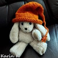 Zipfelmütze mit Rollrand Rotorange Orangebraun gestrickt ZöpfchenStyle Puppensachen Bild 7
