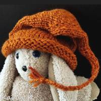 Zipfelmütze mit Rollrand Rotorange Orangebraun gestrickt ZöpfchenStyle Puppensachen Bild 8