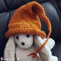 Zipfelmütze mit Rollrand Rotorange Orangebraun gestrickt ZöpfchenStyle Puppensachen Bild 9