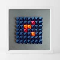 Light and shadow // Origami-Wandbild im Objektrahmen Bild 1