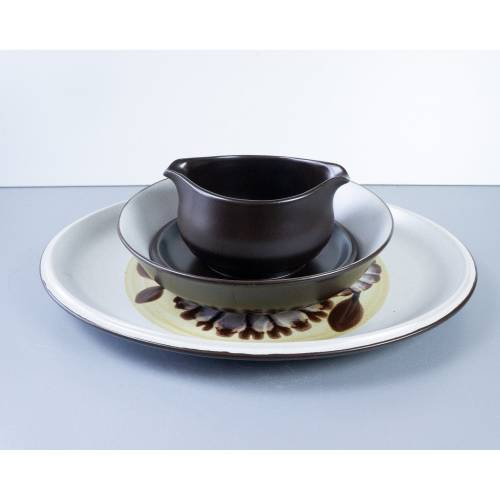 Noritake, 1 Platte, 1 Schüssel, 1 Sauciere, Keramik, Essgeschirr, aus Japan, Serie Suntan 8539