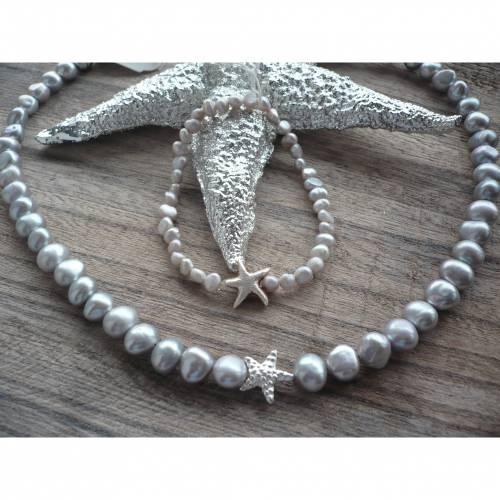 Handgefertigte Süßwasser Perlenkette mit Echt Silber Seestern,Unikat,Silber-Graue Perlenkette,moderne Perlenkette,Brauts