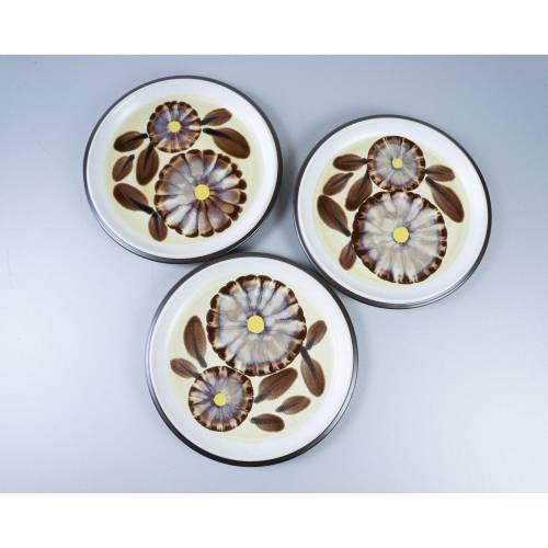 Drei Kuchenteller von Noritake, Dessertteller, drei  hochwertige Teller, Keramik, Essgeschirr, aus Japan, Serie Suntan 8