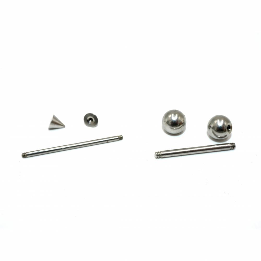 5 Perlenstäbe, mit Kugel oder Kegel , Wechselringe,Wechselstäbe,  Edelstahl Bild 1