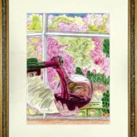 Portugiesischer Rotwein - Original Pastellkreidemalerei, gerahmt Bild 1