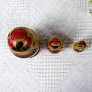 Matroschka, Matruschka, Matrjoschka, Babuschka, 3 teilig, Russische Puppe, alt, Vintage Bild 8