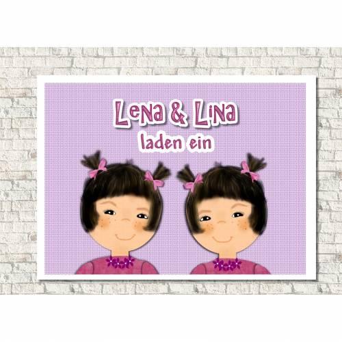 Einladungskarten Kindergeburtstag  Mädchen mit Zöpfen, Zwillinge, personalisiert