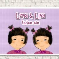 Einladungskarten Kindergeburtstag  Mädchen mit Zöpfen, Zwillinge, personalisiert Bild 1