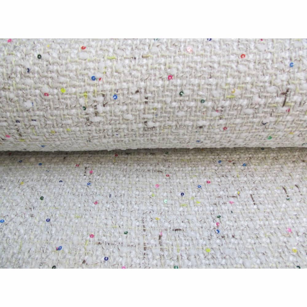 Rest: 1,5 m x 1,46m  Jackenstoff Bouclé Stoff Lizzy gewebt mit kleinen Pailletten   (1m/8,00€ ) Bild 1