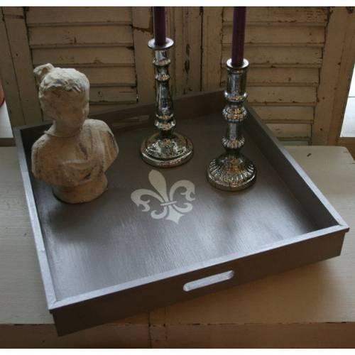 Großes Landhaus Tablett mit Lilie 40 cm x 40 cm