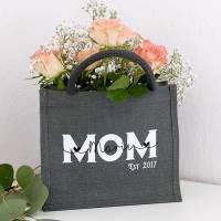 Jutetasche MOM Kindername personalisiert Muttertagsgeschenk Bild 1