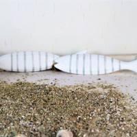 Deko Hänger, maritim Fisch Holz weiß-grau, groß, Floristikbedarf Bild 3