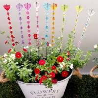 Blumenstecker Pflanzenstecker Gartenstecker mit Herz in Lila Bild 1
