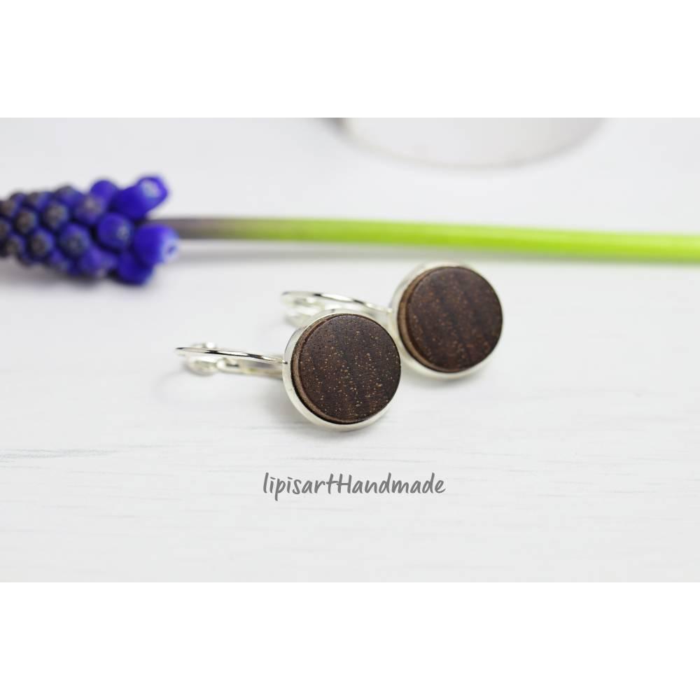 Holzohrringe – Ohrhänger Holz schwarz Nuss Scheibe gedrechselt Klappbrisur silberfarben ∅ 14 mm Bild 1