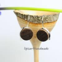 Holzohrringe – Ohrhänger Holz schwarz Nuss Scheibe gedrechselt Klappbrisur silberfarben ∅ 14 mm Bild 2
