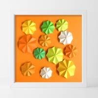 Flowerpower // Origami-Wandbild im Objektrahmen Bild 1