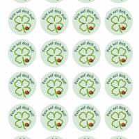 24 Sticker Etiketten Aufkleber, rund D= 4 cm  Pass auf dich auf! Bild 2