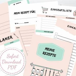 Set: Menüplaner, Rezeptsammlung und Einkaufsliste, insgesamt 6 Seiten zum ausfüllen, PDF Download Bild 1