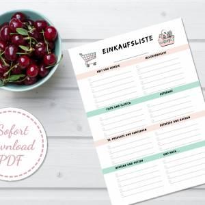 Set: Menüplaner, Rezeptsammlung und Einkaufsliste, insgesamt 6 Seiten zum ausfüllen, PDF Download Bild 6