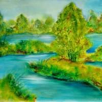 "Kunst–Postkarte - ""Flusslandschaft""  Bild 1"