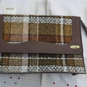 Kulturbeutel, Vintage Stoff und Kunstlederapplikation, Kultrurtasche, 60er oder 70er Jahren, mit Reißverschluss, Waschbe Bild 1
