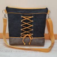 Schöne Tasche aus Kunstleder und Jeans in Grau und Gelb Bild 1