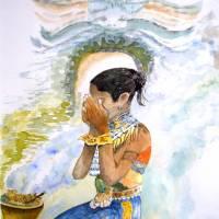 """Kunst–Postkarte - """"Balinesin""""  Bild 1"""