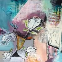 """White Rose"" 50 x 70 cm Acrylbild  Bild 1"