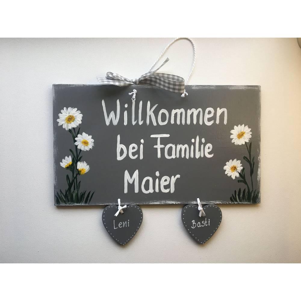 Türschild Blumen, Margeriten,Familientürschild, Holztürschild, Türschild mit Herzanhänger, Personalisiert Bild 1