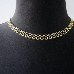Vintage einfache Halskette, 1970er Jahre, goldfarben, unedles Material, getragen, Mid-Century Schmuck, 48 cm Bild 1