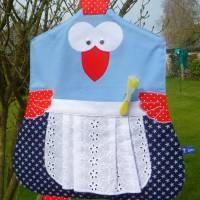 Lustiger Wäscheklammerbeutel, Klammersack *Verrücktes Huhn in Blau* Bild 1