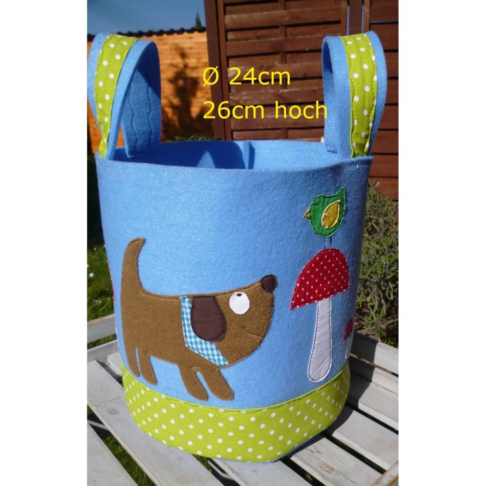 Filzkorb Hund, Vogel, Fliegenpilze, Utensilo, Korb, Henkelkorb, Spielzeugkorb, Kinderzimmer, Jungen Bild 1