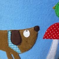 Filzkorb Hund, Vogel, Fliegenpilze, Utensilo, Korb, Henkelkorb, Spielzeugkorb, Kinderzimmer, Jungen Bild 2