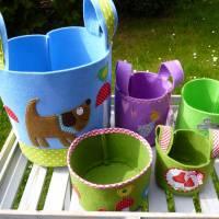 Filzkorb Hund, Vogel, Fliegenpilze, Utensilo, Korb, Henkelkorb, Spielzeugkorb, Kinderzimmer, Jungen Bild 6