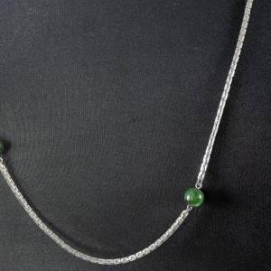 Vintage Halskette, 1970er Jahre, silberfarben, mit Perlen bzw. Kugeln, unedles Material, getragen, Mid-Century Schmuck,  Bild 1