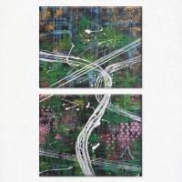 Modernes zweiteiliges Acrylgemälde Stadt bei Nacht | original Kunstwerk bunt | abstrakte Kunst auf Leinwand 50x80cm Bild 1