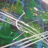 Modernes zweiteiliges Acrylgemälde Stadt bei Nacht | original Kunstwerk bunt | abstrakte Kunst auf Leinwand 50x80cm Bild 5