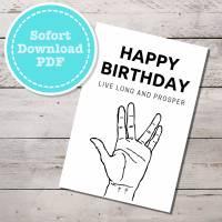 Star Trek inspirierte Geburtstagskarte Spock Gruß, sofort Download mit Umschlag als PDF Bild 1
